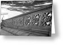 Steps Of Central Park In Black And White Greeting Card