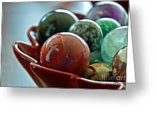 Still Life Crosses Reflected In Bowl Of Glass Marbles Art Prints Greeting Card