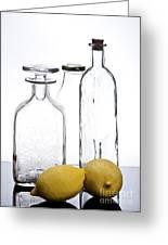 Still Life Of Bottles  And Lemons Greeting Card