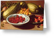 Still Life Of Cherries - Marrows And Pears Greeting Card