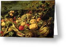 Still Life Of Fruits And Vegetables Greeting Card