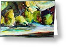 Still Life Of Pears Greeting Card by Mindy Newman