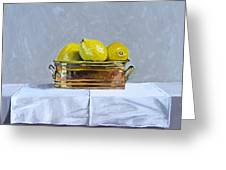 Still Life With Copper And Lemons Greeting Card