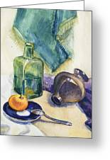 Still Life With Green Bottle Greeting Card