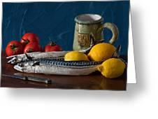 Still Life With Mackerels Lemons And Tomatoes Greeting Card