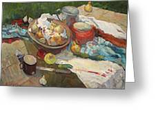 Still Life With Onions And Cucumbers Greeting Card