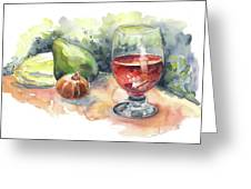 Still Life With Red Wine Glass Greeting Card