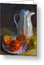 Still Life With White Carafe And Oranges Greeting Card