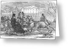Stockholm: Sleighing, 1850 Greeting Card