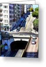 Stockton Street Tunnel In Hilly San Francisco . 7d7499 Greeting Card by Wingsdomain Art and Photography