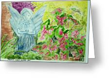 Stone Angel And Caladiums Greeting Card
