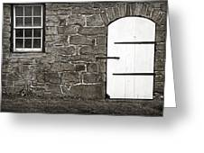 Stone Barn Window Cathedral Door Greeting Card