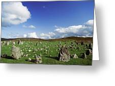 Stone Circles On A Landscape, Beaghmore Greeting Card