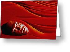 Stone Face Mahogany Greeting Card by Charles Dancik