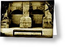Stone Face - Limestone Windows Column And Bank Create A Misterious Face Greeting Card