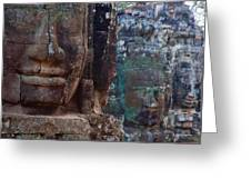 Stone Heads At Bayon Temple Greeting Card