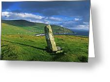 Stone On A Landscape, Ogham Stone Greeting Card