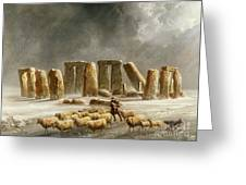 Stonehenge In Winter  Greeting Card