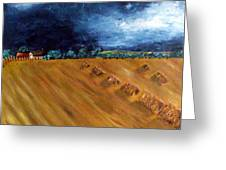 Stooks At Winkleigh Greeting Card by Sandy Wager