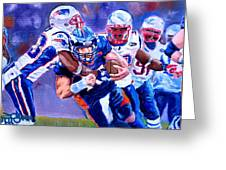 Stopping Tebow Greeting Card by Donovan Furin