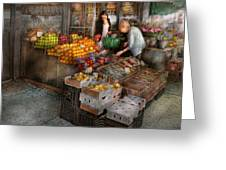 Storefront - Hoboken Nj - Picking Out Fresh Fruit Greeting Card by Mike Savad