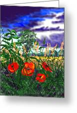 Storm Clouds And Poppies Greeting Card