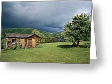 Storm Clouds Form Above A Log Cabin Greeting Card