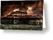 Storm Over The West Pier Greeting Card
