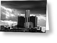 Stormy Detroit Gm Building - Black And White Greeting Card by Alanna Pfeffer