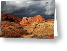 Stormy Skies Over Valley Of Fire Greeting Card