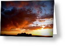 Stormy Sunset Over A Tree Canopy Greeting Card