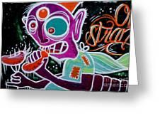 Strange Graffiti Creature Eating Sausages Greeting Card