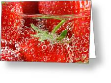 Strawberries In Water Close Up Greeting Card