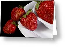 Strawberry Arrangement With A White Bowl No.0036 Greeting Card