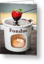 Strawberry Dipped In Chocolate Fondue Greeting Card by Elena Elisseeva