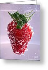 Strawberry In Soda Greeting Card by Soultana Koleska