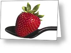 Strawberry On A Black Spoon Against White No.0003 Greeting Card