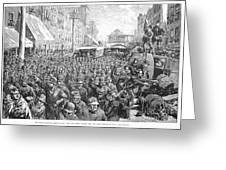 Street Car Strike, 1886 Greeting Card