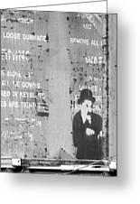 Street Graffiti Art - The Little Tramp Bw Greeting Card