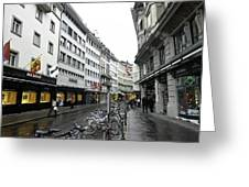 Street In Lucerne With Cycles And Rain Greeting Card