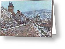 Street In Vetheuil In Winter Greeting Card