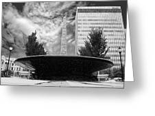 Street Photography Downtown Asheville Fountain  Greeting Card