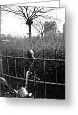 Street Photography In Paris In Black And White Greeting Card