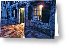 Street Scene In Ancient Kotor Montenegro Greeting Card by David Smith