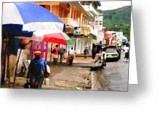 Street Scene In Rosea Dominica Filtered Greeting Card