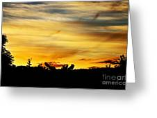 Stripey Sunset Silhouette Greeting Card