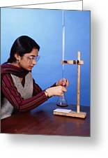 Student Performing Titration Greeting Card