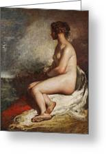 Study Of A Seated Nude Greeting Card