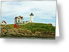 Summer Afternoon At Nubble Light Greeting Card