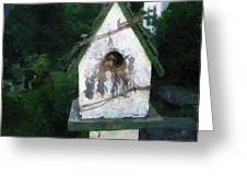 Summer Night With Birdhouse Greeting Card